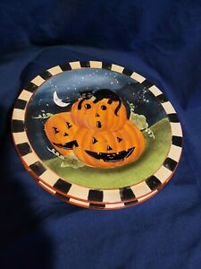 Halloween Dessert Plates Haunted House , Jack O Lanterns. Set Of 2