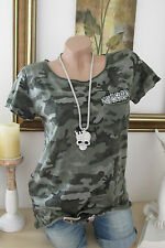 D&F Shirt Camouflage Army Military Style Sequin roll-kanten Green 34 36 38