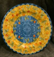 """MINT Strawberry Coventry 12.5"""" Chop Plate/Round Platter Plate Porcelain Blue Tan"""