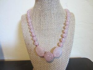 VTG Silver Signed Rose Quartz SHOU Chinese Carved Handknoted NECKLACE =25 IN=91g