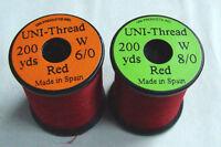 1 x 200 yards UNI Fil montage ROUGE 6-0//8-0 peche thread moscas bobina montaje