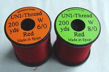 1 x 200 yards UNI Fil montage ROUGE 6-0/8-0 peche thread moscas bobina montaje
