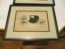Pair Antique French Carriage Buggy Sedan Prints Framed Hand Colored 18.25x14.25