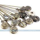 Antique Vintage Bronze Tone Men Pocket Chain Quartz Pendant Watch Necklace Gift