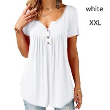 Women's V-Neck Tunic Short Sleeve Loose Top T-Shirt Plus Loose Blouse Top