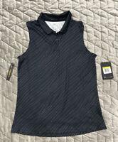 NIKE Women's Dri-Fit Sleeveless Golf Polo Shirt NWT Black Size Small S