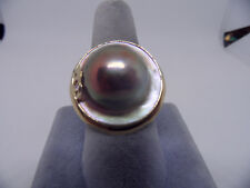 14k yellow gold HUGE 18mm Mabe Blister Pearl Cocktail Ring in  Size 8 1/2