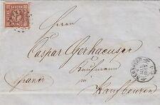 Bayern, 6 Kreuzer braun, MiNr. 4 II, auf Brief aus Nürnberg