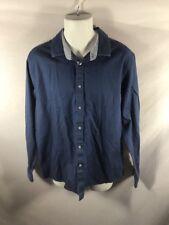 Men's LACOSTE Regular Fit Blue Button Down Long Sleeve Dress Shirt Sz 17 1/2