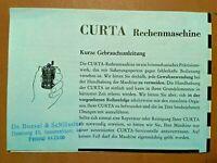 Seltene Original-Gebrauchsanleitung CURTA-Rechenmaschine (großes Faltblatt)