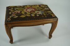 Vintage French Louis XV Style Needlepoint Footstool Carved Legs Sturdy Nice Pc