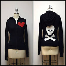 JUICY COUTURE Black Cashmere Hoodie Sweater w Hand Appliqued Heart & Skull Small