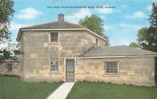 Fort Hays Kansas~Walk Up to Screen Door on Old Blockhouse~Flowers~c1940 Postcard