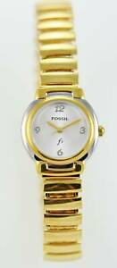 Fossil F2 Watch Womens Stainless Gold Silver Steel Stretch 30m White Quartz
