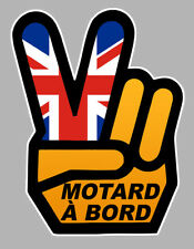MOTARD A BORD MAIN VICTORY HAND ENGLAND 12x9cm AUTOCOLLANT/STICKER - MOTO(MA164)