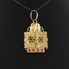 Vintage Estate 14K Yellow Gold Sapphire and Ruby Ten Commandments Pendant