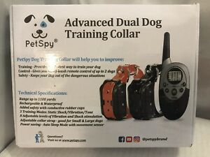 NEW PetSpy Dual Dog Training Shock Collar for 2 Dogs with Shock, Vibration &Tone