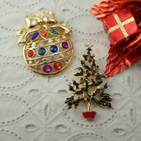 Vtg Christmas Tree & Holiday Rhinestone Ornament Gold Tone Set Of 2 Pin Brooches
