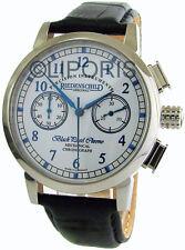 Riedenschild Herrenuhr Handaufzug Schaltrad Chronograph weiss blau 17Steine 41mm