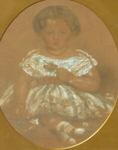 Victorian Turn of Century Young Female Child Pastel