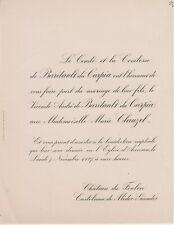 1927 Faire-part mariage André de BARITAULT du CARPIA & Marie CLAUZEL - Avensan