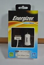 ENERGIZER HIGH TECH USB CAR CHARGER FOR IPOD IPHONE IPAD 30 PIN LIGHTNING LEAD