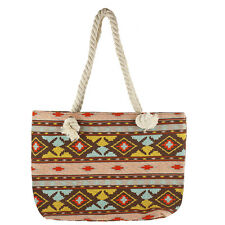Tribal Print Tote Beach Bag Lux Accessories Women's Colorful Multi Color