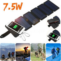 7.5W USB Foldable Solar Panel Phone Charger Portable External Battery Power