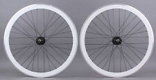 H Plus + Son SL42 rims White & Black Singlespeed Track Fixed Gear Bike Wheelset