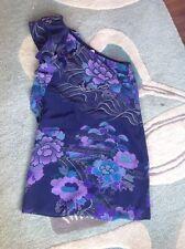 Belle OASIS pure Silk 10 Purple Flower Print mini dress  Spring Wedding Occasion