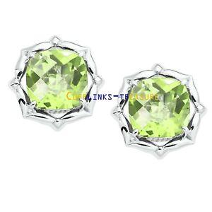 Natural Lemon topaz  & CZ Gemstones 925 Sterling Silver Cufflinks For Men's