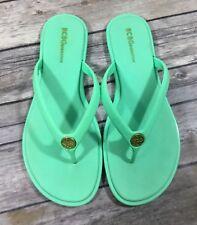 adf11f8ef1f87 BCBGeneration Womens FlatViktori Flip Flop Sandals 7B Mint Green Gold  Casual GUC