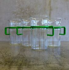 4 Retro Bodum Bistro Coffee Glass 300mls Green Handles Denmark Scandinavian