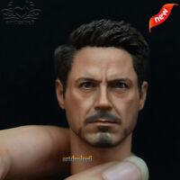 1/6 Scale Civil War Tony Stark Male Head Sculpt For 12 Inch Hot Toys Figure Body