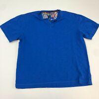 Robert Graham Henley Shirt Men's Medium Short Sleeve Blue Classic Fit Cotton
