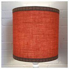 Large 70s Style Natural Hessian Orange LampShade Fat Lava Retro