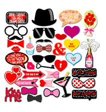 36PCS Valentines Day Wedding Supplies Decoration Photo Booth Party Props Hearts
