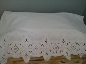 2 panels white cotton eyelet lace hem 28X36 each panel