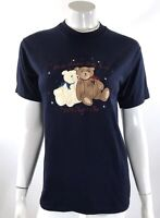 Decorated Womens Top Size Small Blue Short Sleeve American Teddy Bears Tee Shirt