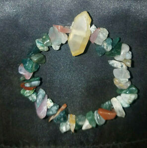 Charged Mixed Fancy Agate Chip Stretchy Bracelet & Citrine Crystal, Magic Reiki