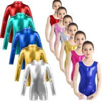 Kids Girls Metallic Leotard Gymnastics Shiny Ballet Dance Sport Training Costume