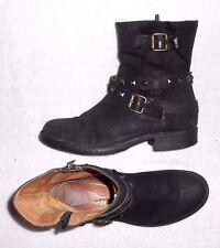 KARSTON bottines plates zippées cuir daim noir P 38 TBE