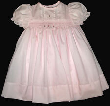 Hand Smocked with fine pintucks, lace, bows and roses, Dress - Sarah