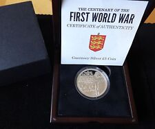 2014 SILVER PROOF GUERNSEY £5 COIN BOX + COA 100th ANNIVERSAR FIRST WORLD WAR 1