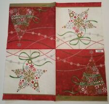 Two (2) Paper Napkins for Decoupage Crafts - Christmas Tree Star Ornament Snow