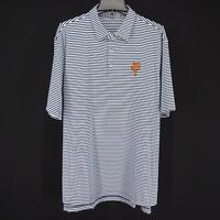 Mens Peter Millar Summer Comfort Crown Blue Striped Golf Polo Shirt Size XL Soft