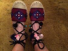 New Vintage Havana Bermuda Lace Espadrille Sandal Shoes 8-1/2