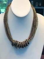 "Vintage Bohemian 16 "" Bronze Colored Multi Strand beaded Bib Statement necklace"