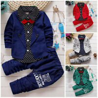 2pcs Kids Baby clothes baby boys clothes cotton top+pants suit outfits gentleman
