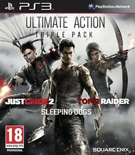Ultimate Action Triple Pack PS3 Just Cause 2 Sleeping Dogs Tomb Raider Brand NEW
